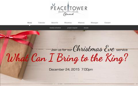 Screenshot of Home Page peacetowerchurch.ca - Peace Tower Church | Home - captured Dec. 7, 2015