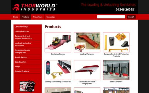 Screenshot of Products Page thorworld.co.uk - Range   Products : Thorworld Industries : The Loading and Unloading Specialists - captured Feb. 16, 2016