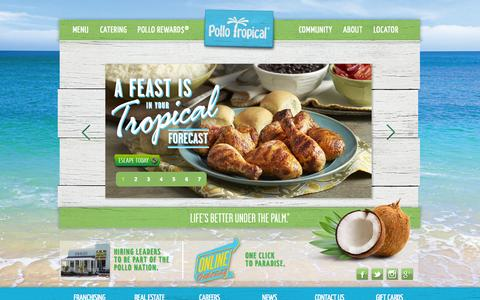 Screenshot of Home Page pollotropical.com - Pollo Tropical® - Grilled Chicken, Wraps, Sandwiches and Caribbean Food - captured Sept. 25, 2014