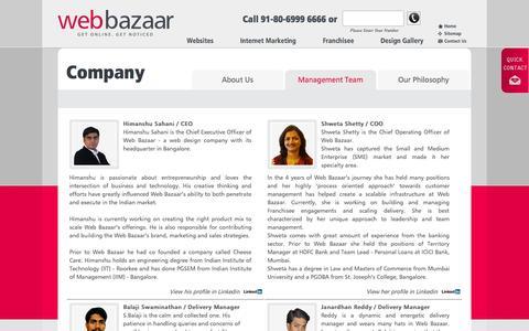 Screenshot of Team Page webbazaar.com - Management Team of Webbazaar - captured Oct. 10, 2014