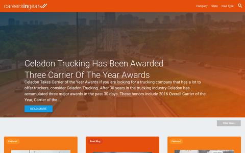 Screenshot of Press Page careersingear.com - Celadon Trucking Has Been Awarded Three Carrier of the Year Awards - captured Dec. 27, 2016