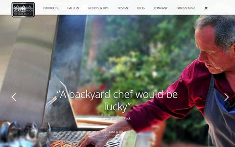 Screenshot of Home Page kalamazoogourmet.com - Custom Outdoor Kitchens for Gourmet Outdoor Cooking - captured Sept. 19, 2015