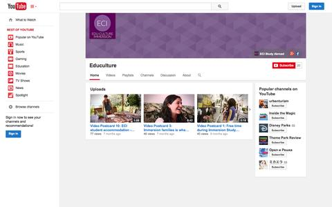 Screenshot of YouTube Page youtube.com - Educulture  - YouTube - captured Oct. 22, 2014