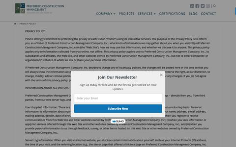 Screenshot of Privacy Page pcmcompany.com - Privacy Policy - Preferred Construction Management - captured Sept. 28, 2018