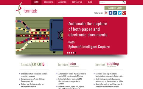 Screenshot of Home Page formtek.com - Content Management | Document Management Software and Services - captured July 13, 2018