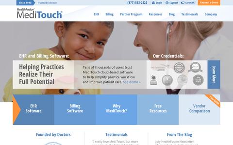 Screenshot of Home Page healthfusion.com - Healthcare Software Solutions by HealthFusion | MediTouch EHR - captured July 11, 2014