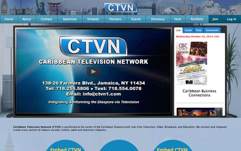 Screenshot of Home Page Privacy Page Contact Page Signup Page Login Page Terms Page ctvn1.com - Caribbean TV Network – - captured Oct. 2, 2014