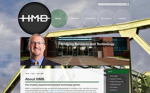 Screenshot of About Page hmbnet.com - HMB - Your Trusted Business Technology Partner - Columbus, OH - captured Oct. 1, 2014