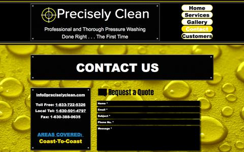 Screenshot of Contact Page preciselyclean.com - Precisely Clean- Mobile Pressure Washing | Contact - captured July 20, 2018
