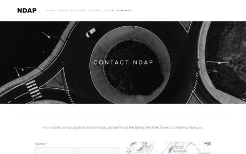 Screenshot of Contact Page ndap.com - Contact NDAP — NDAP - captured Oct. 19, 2018