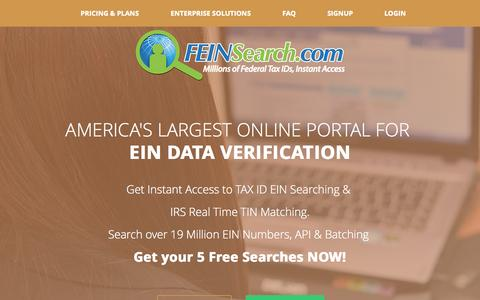 Screenshot of Home Page feinsearch.com - Federal Tax ID Number Search Experts | Tax id search | IRS TIN Match api |  EIN Search |EIN TIN api & Bulk Batching |  EIN Lookup | Find EIN - FEINSearch.com | 800-299-8280 - captured Sept. 4, 2015