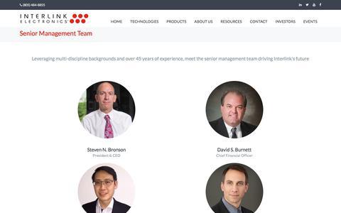 Screenshot of Team Page interlinkelectronics.com - Senior Management Team - captured Sept. 19, 2018