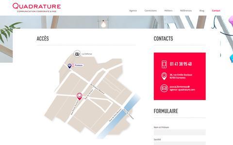 Screenshot of Contact Page agence-quadrature.com - Contacts - Agence Quadrature communication - captured Sept. 28, 2018