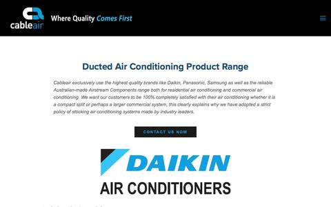 Screenshot of Products Page cableair.com.au - Cableair- Reverse Cycle Ducted Air Conditioning — Reverse cycle ducted product range - captured May 13, 2017