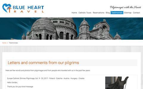 Screenshot of Testimonials Page bluehearttravel.com - Testimonials - Catholic Pilgrimages and Holy Land Tours | Blue Heart Travel - captured Oct. 6, 2018