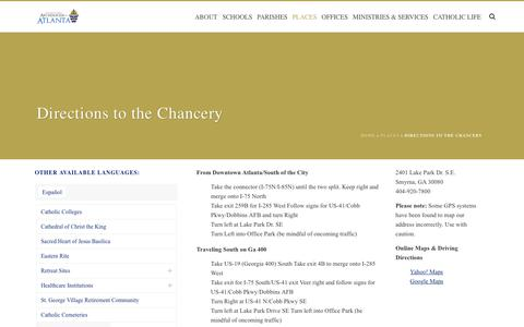 Screenshot of Maps & Directions Page archatl.com - Directions to the Chancery | Roman Catholic Archdiocese of Atlanta | Atlanta, GA - captured Oct. 8, 2017