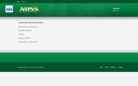 Screenshot of Contact Page newhorizonsecurity.com - New Horizon Security - Contact Us - captured Feb. 15, 2020