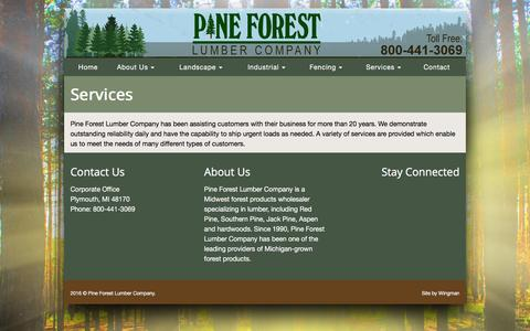 Screenshot of Services Page pflumber.com - Pine Forest Lumber Company | Services - captured Jan. 28, 2016
