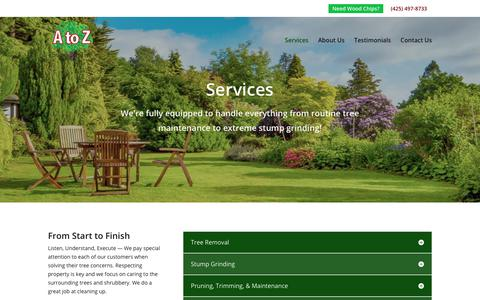 Screenshot of Services Page atoztrees.com - Services | A to Z Stump & Tree - captured Sept. 29, 2018