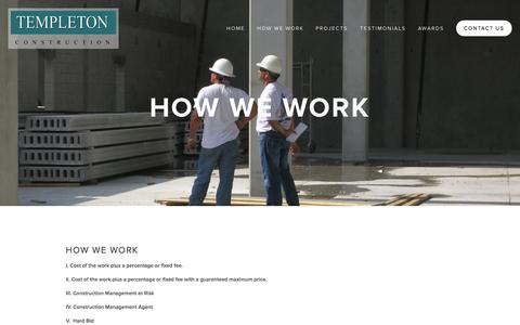 Screenshot of About Page templetonconstruction.com - How We Work — Templeton Construction - captured Oct. 26, 2014