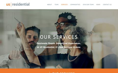 Screenshot of Services Page usrgroup.com - US Residential - captured Oct. 1, 2018