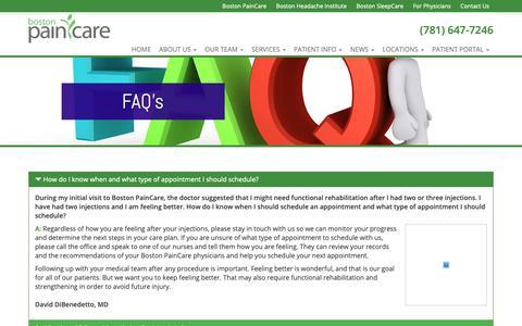 Screenshot of FAQ Page bostonpaincare.com - FAQ's - Boston PainCare - captured Nov. 13, 2018