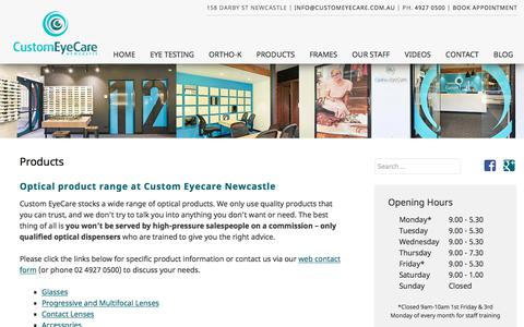 Screenshot of Products Page customeyecare.com.au - Newcastle Optometrist Glasses & Accessories - Marketown Optical Newcastle - captured Nov. 24, 2017