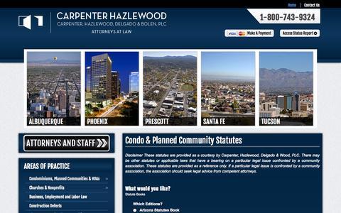 Screenshot of Signup Page carpenterhazlewood.com - Condo & Planned Community Statutes - Carpenter, Hazlewood, Delgado & Bolen, P.C. - captured Nov. 1, 2014