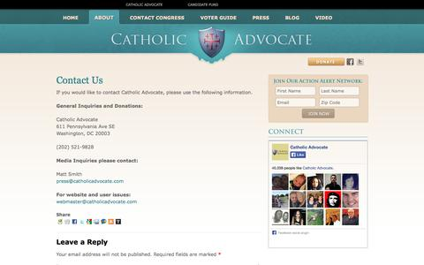 Screenshot of Contact Page catholicadvocate.com - Catholic Advocate | Contact Us - captured Sept. 29, 2014
