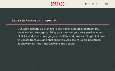 Screenshot of Jobs Page sparxoo.com - Careers - Sparxoo - captured Feb. 15, 2019