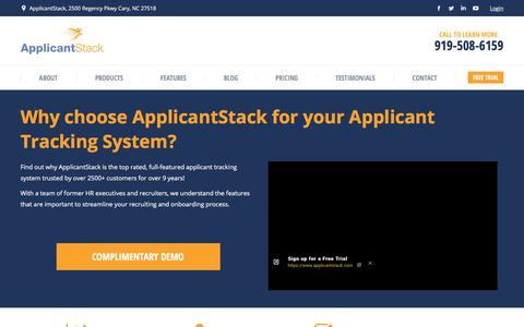 Screenshot of Home Page applicantstack.com - Applicant Tracking System | HR Software | ApplicantStack - captured Dec. 2, 2017