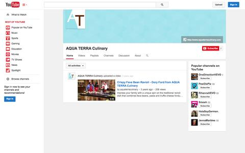 Screenshot of YouTube Page youtube.com - AQUA TERRA Culinary  - YouTube - captured Oct. 23, 2014