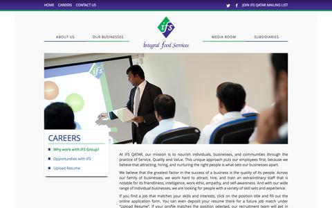 Screenshot of Jobs Page ifsqatar.com - Why work with IFS Group? – IFS - captured Nov. 26, 2016
