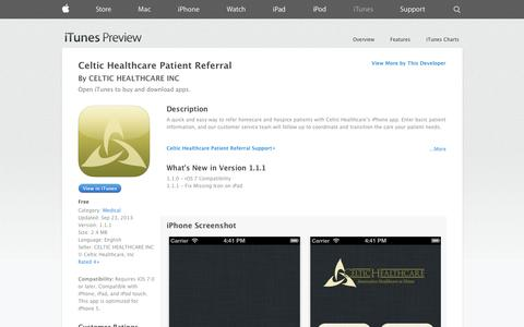 Screenshot of iOS App Page apple.com - Celtic Healthcare Patient Referral on the App Store on iTunes - captured Oct. 22, 2014