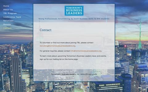 Screenshot of Contact Page tomorrowsbusinessleaders.org - contact — Tomorrow's Business Leaders - captured Sept. 30, 2014