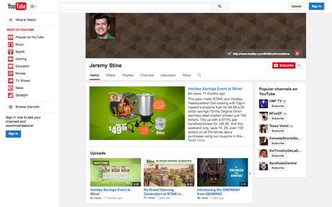 Screenshot of YouTube Page youtube.com - Jeremy Stine  - YouTube - captured Oct. 31, 2014