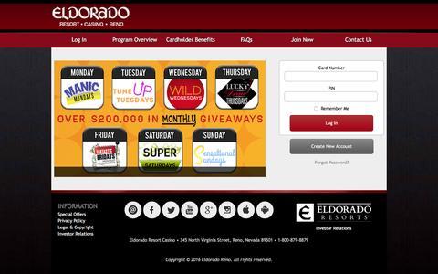 Screenshot of Login Page eldoradoreno.com - Club Eldorado - Login - captured Jan. 21, 2016