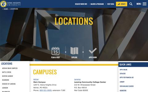 Screenshot of Locations Page sienaheights.edu - Catholic Colleges in Michigan | Siena Heights University | Locations | Dominican College - captured Sept. 22, 2018