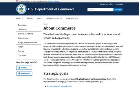 Screenshot of About Page commerce.gov - About Commerce | U.S. Department of Commerce - captured Nov. 11, 2018