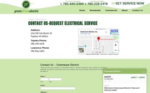 Screenshot of Contact Page greenwaveelectric.com - Request Electrical Service | Topeka and Lawrence, KS | Greenwave Electric - captured Sept. 30, 2018