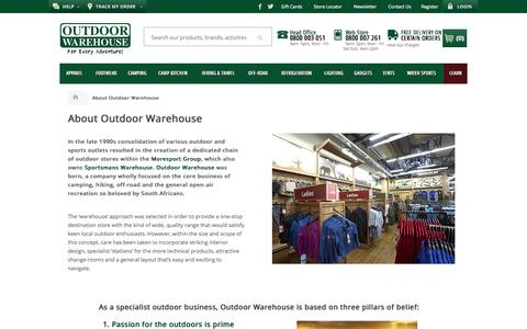 Screenshot of About Page outdoorwarehouse.co.za - About Us - captured Oct. 30, 2014