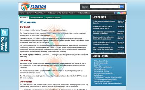 Screenshot of About Page fhsaa.org - FHSAA.org | About - captured Sept. 24, 2018