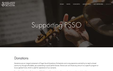 Screenshot of Support Page psso.org - Donate — Puget Sound Symphony Orchestra - captured Feb. 1, 2016
