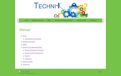 Screenshot of Site Map Page techni-k.co.uk - Quality & Food Safety Management Systems - Techni-K Consulting, LTD - captured Oct. 26, 2014