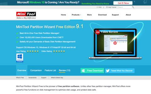 Screenshot of Products Page partitionwizard.com - Best Free Partition Manager for Windows | MiniTool Partition Free - captured Jan. 17, 2016