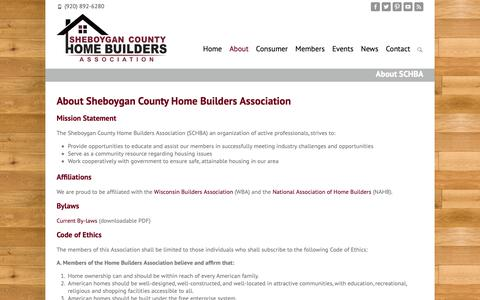 Screenshot of About Page schba.org - Helping Builders & Consumers   Sheboygan County Home Builders Association - captured Oct. 19, 2018