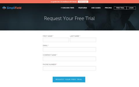 Screenshot of Trial Page simplifield.com - Free Trial | SimpliField - captured Feb. 21, 2016
