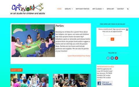 Screenshot of Home Page artworksartstudio.com - Artworks Art Studio Children's Art Classes San Antonio - captured Dec. 26, 2015