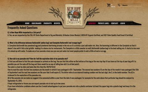Screenshot of FAQ Page newhopemills.com - FAQ's - captured Nov. 13, 2016