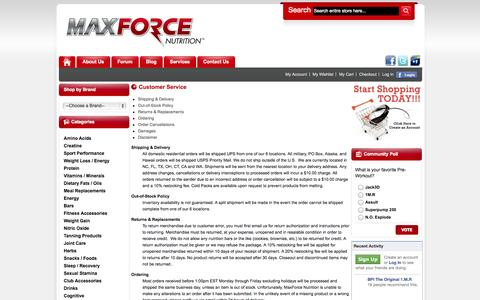 Screenshot of Services Page Support Page maxforcenutrition.com - Customer Service - captured Oct. 23, 2014